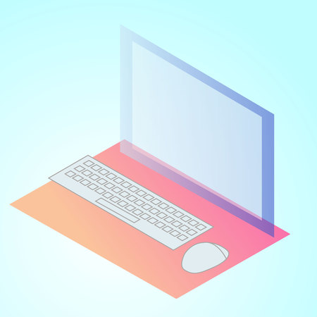 isometric 3d illustration computer for ux ui web page or APP