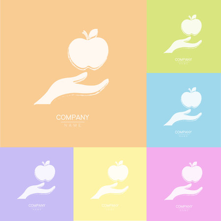 Creative icon apple in hands, logotype template. Fruit symbols of save nutrition. Vegetarian and health concept.  illustration Reklamní fotografie