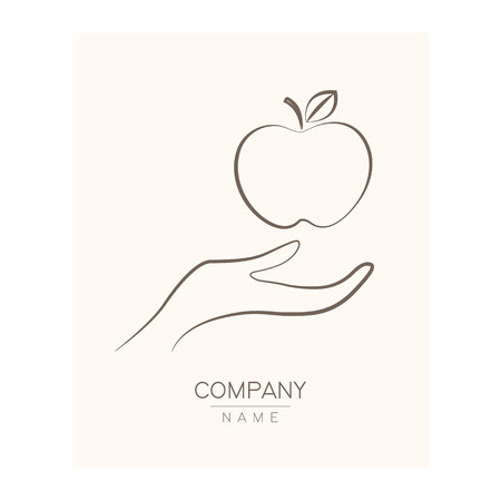 Creative icon apple in hands, logotype template. Fruit symbols of save nutrition. Vegetarian and health concept.  illustration Stockfoto