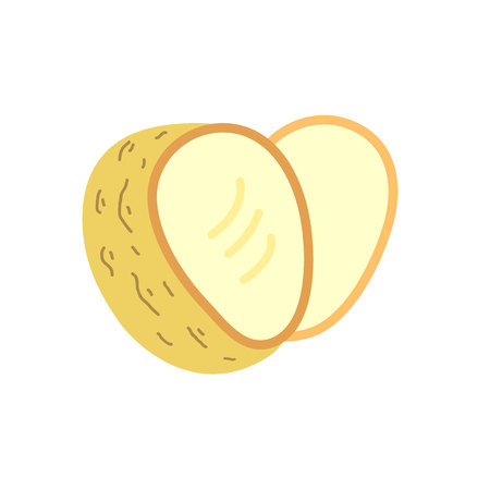 two Cut potatoes Raw Unpeeled Root Fresh Natural Product.  illustration for logo, ui, ux app or web icon. heart