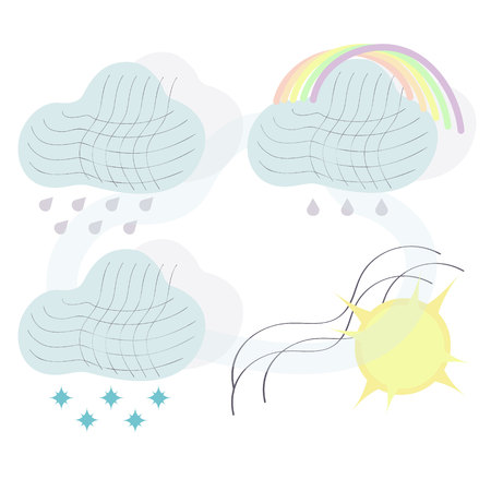 Climate icons set with rain, crescent, clouds, sunshine and other wet elements. Isolated  illustration climate icons. Archivio Fotografico