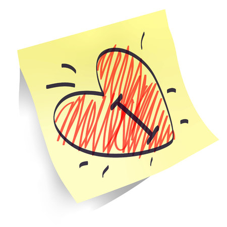 heart shapes handwritten on yellow paper sticker isolated, declaration of love red and black marker