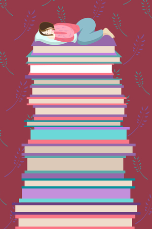 nice and clever girl is sleeping and dreaming on the pile of books Banco de Imagens