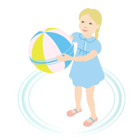 little girl with a ball