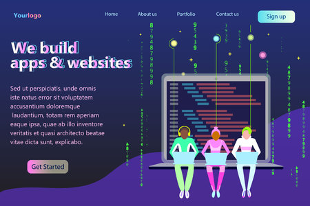 Program developers creating website writing software at computer desktop setting on the laptop. Engineers different color skins creating programm in outer space. Modern future concept flat vector illustration landing page for your business Banco de Imagens