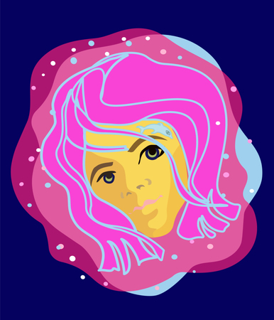 icon girl woman nice and cute with color hairs liketenager mermade and with tatoo dolphin