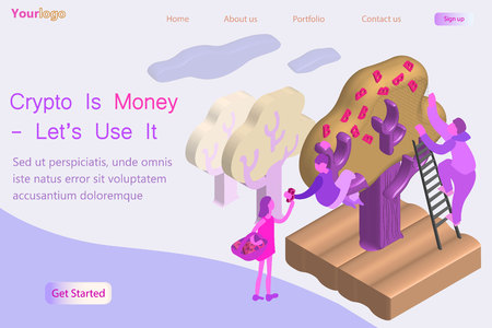 Crypto currency business concept. People collect from the tree fruit golden bitcoins. vector 3D flat isometric composition.