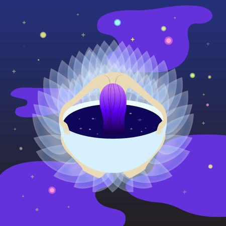 the girl hung her head and hears in a cup of coffee on the dark blue cosmos background.  flat illustration mood concept for ui, ux or web page