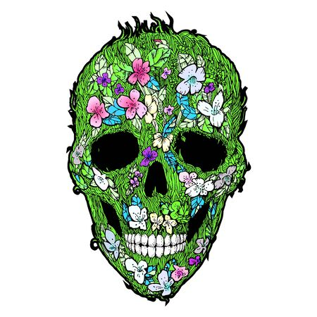 Skulls, flowers and foliage. Floral seamless pattern.