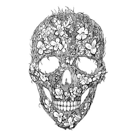 Skulls, flowers and foliage. Floral seamless pattern. Banco de Imagens - 127643943