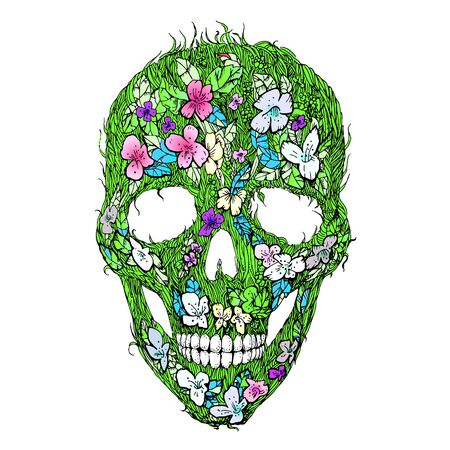 Skulls, flowers and foliage. Floral seamless pattern. Banco de Imagens - 127644021