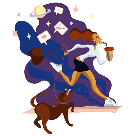 the girl drinking coffee on the run with a dog. Business woman in a fast lifestyle with her deal thinking on a cosmos background.