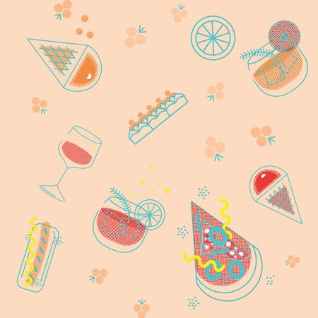 Seamless pattern of fast food products. Color illustration of a icon of street food and cafe isolated on a dark background. Tasty pictures of pizza, hotdog, ice creame, vine and coctail. Banco de Imagens - 127644031