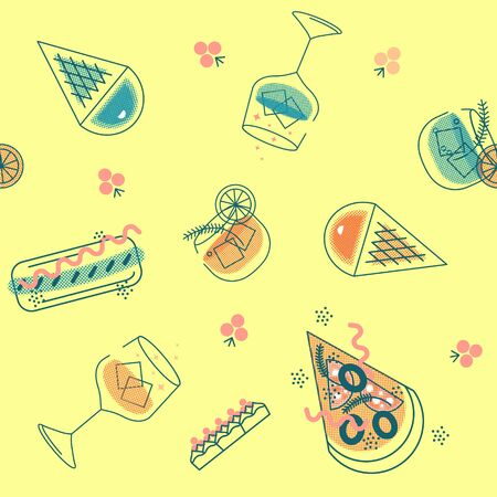 Seamless pattern of fast food products. Color illustration of a icon of street food and cafe isolated on a dark background. Tasty pictures of pizza, hotdog, ice creame, vine and coctail. Banco de Imagens