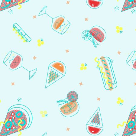 Seamless pattern of fast food products. Color illustration of a icon of street food and cafe isolated on a dark background. Tasty pictures of pizza, hotdog, ice creame, vine and coctail.