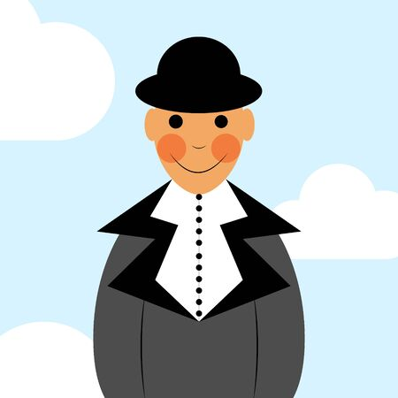 Male face avatar. Man in the suit, shirt and hat portrait on the blue sky background. Businessman icon.