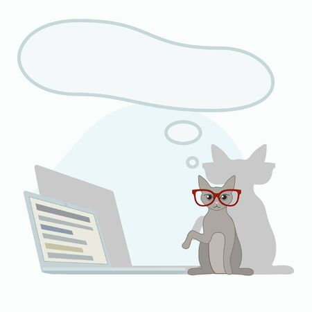 Coronovirus illustration for Landing Page or Presentation about Working at home. Freelancer stay home. A cat working on a lap top in glasses