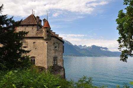 chillon: Chillon castle in Lake Geneva, Switzerland Editorial