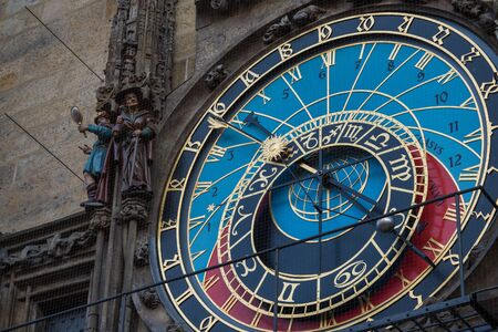 Close up view of Astronomical clock in Prague
