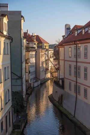 View of Prague's canal and buildings
