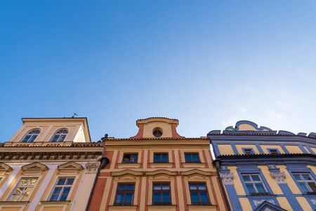 Prague's old town city square coloured buildings