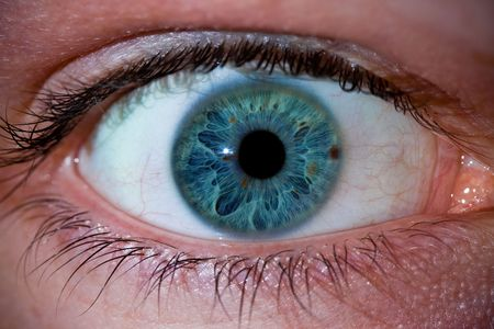 eye ball: Macro close-up of a mans eye ball