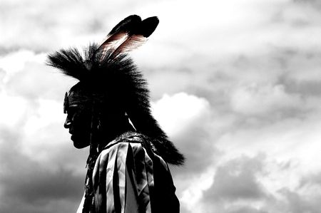 native american headdress: Young indian warrior