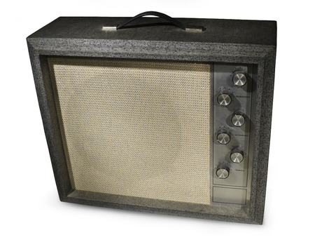 Retro guitar amp isolated on white