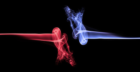 Blue smoke vs red smoke abstract Stock Photo