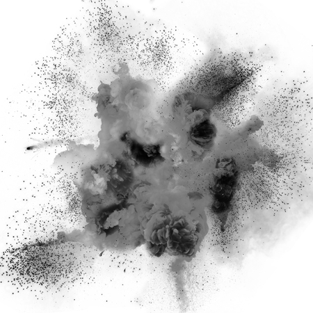Realistic fireball explosion over a white background