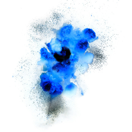 Bright blue flash explosion on a white background. fire burst