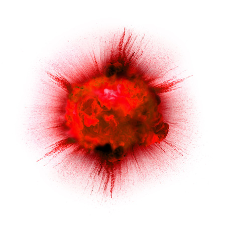 Bright red flash explosion on a white background. fire burst