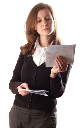 send mail: woman reading post. Stock Photo