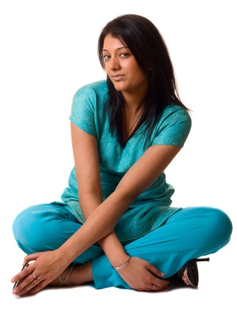 indian style sitting: asian woman