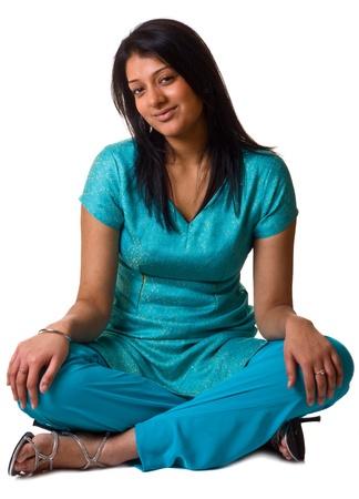 assis par terre: femme asiatique Banque d'images