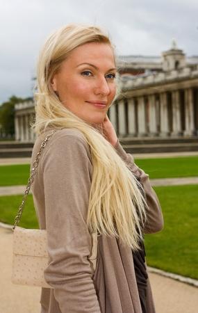 beautiful young woman outdoors.  photo