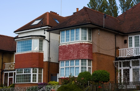 13th September 2011,  london, uk.  A row of houses in london, the Uk property market is worth 5.8 trillion.