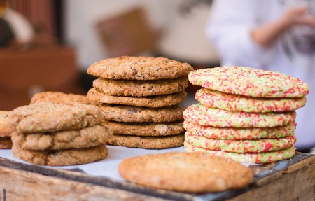 cookies on a counter at a bakery.  photo