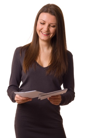 a happy young woman reading her post. Stock Photo - 11841417
