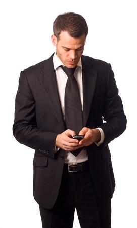 휴대 전화를 들고 비즈니스 사람.