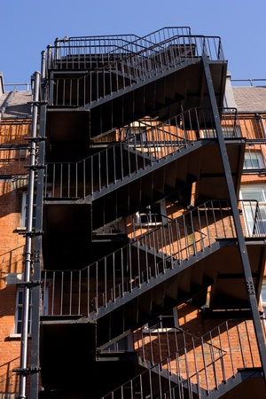 banister: external emergency fire staircase