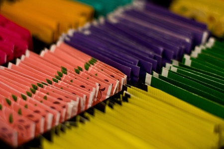 a selection of colourful tea packets in a presentation box Stock Photo - 13052781