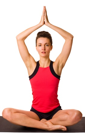 young woman practicing yoga isolated on a white background Stock Photo - 13074998