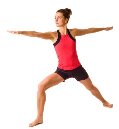 young woman doing yoga isolated photo