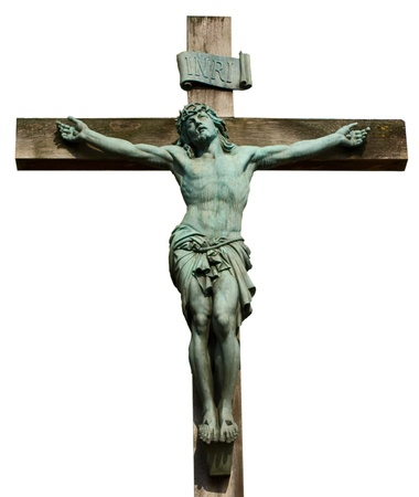 jesus on the cross isolated on white. Editorial