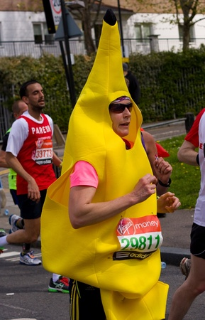 LONDON - APRIL 22: Unidentified man runs the London marathon on April 22, 2012 in London, England, UK. The marathon is an annual event.