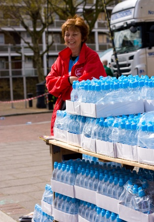 LONDON - APRIL 22: water supplies at  the London marathon on April 22, 2012 in London, England, UK. Water is important to keep the runners hydrated.