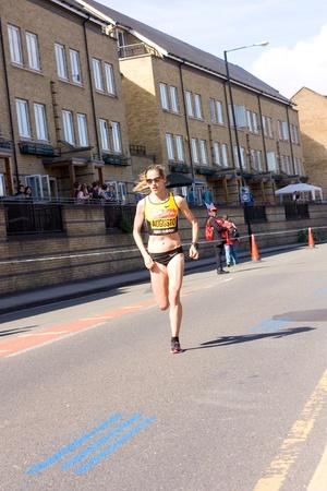 LONDON - APRIL 22: Jessica Augusto runs the London marathon on April 22, 2012 in London, England, UK. The marathon is a annual event.