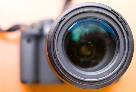 telephoto: a closeup of a camera lens