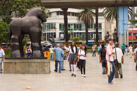 MEDELLIN, COLOMBIA - OCT 10th 2012: Statues in the Botero Square, on 10th Oct 2012 in Medellin, Colombia. Botero donated 23 sculptures to his home town of Medillin. Editorial